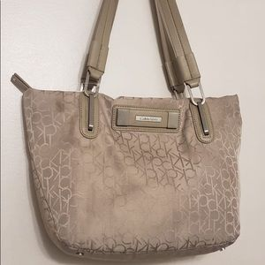 Calvin Klein Muted Grey Logo Printed Hand Bag